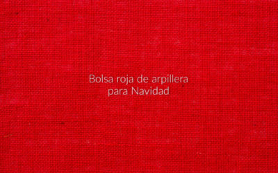 Bolsa roja de arpillera para Navidad